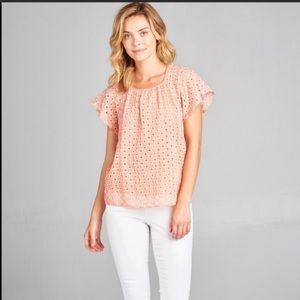 RENEE C. shirt flutter sleeve orange peach